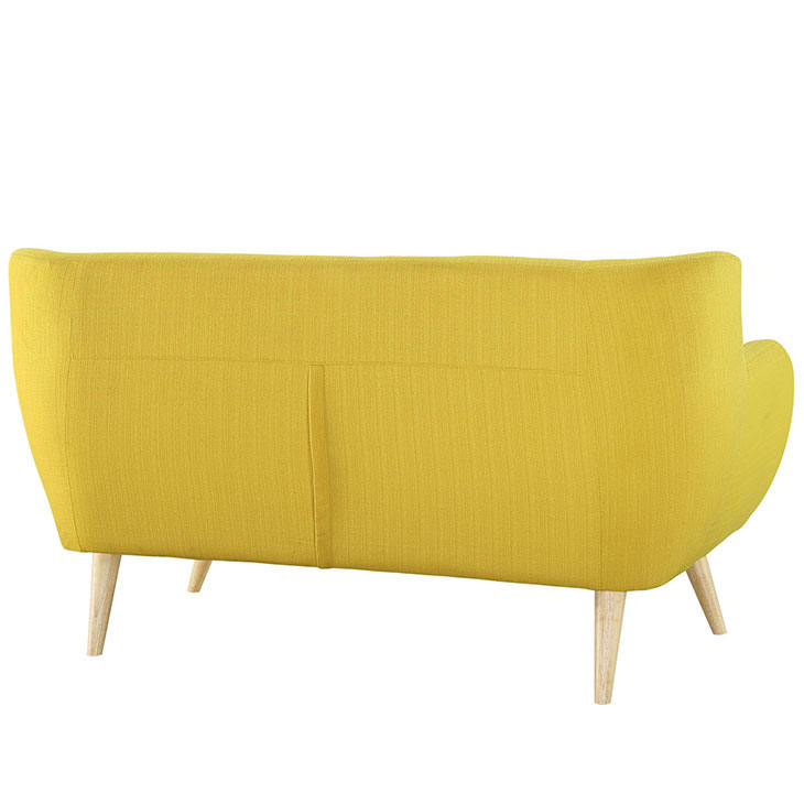 decade upholstered loveseat light yellow 3