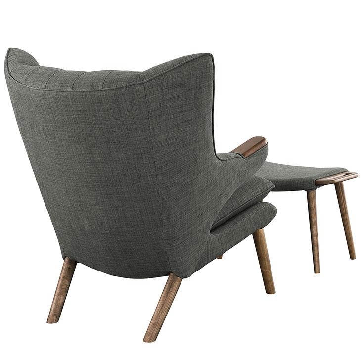 fellow lounge chair ottoman set gray 3