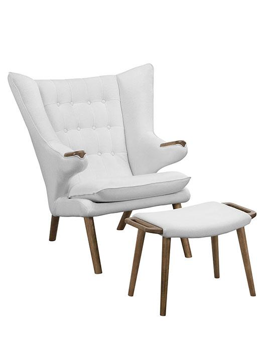 fellow lounge chair ottoman set white 1