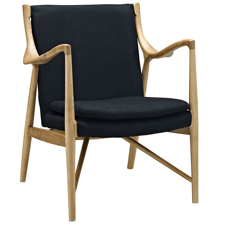 horn wood fabric chair black 1