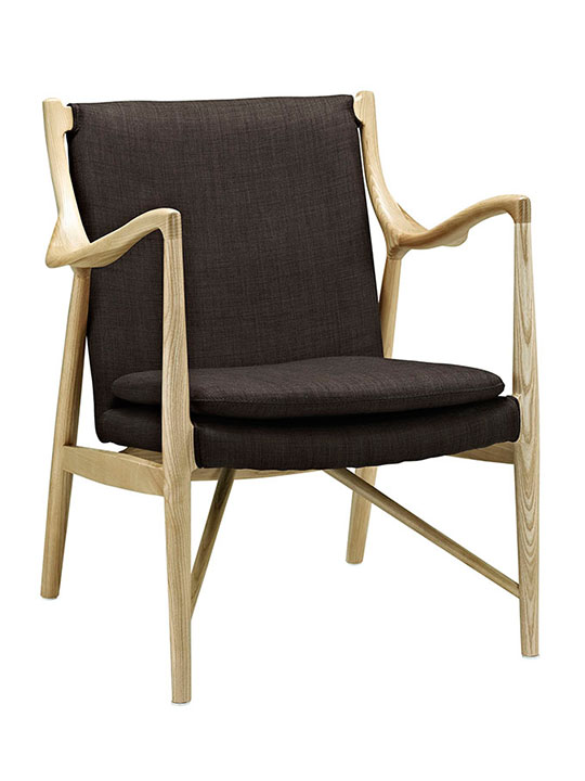 horn wood fabric chair brown