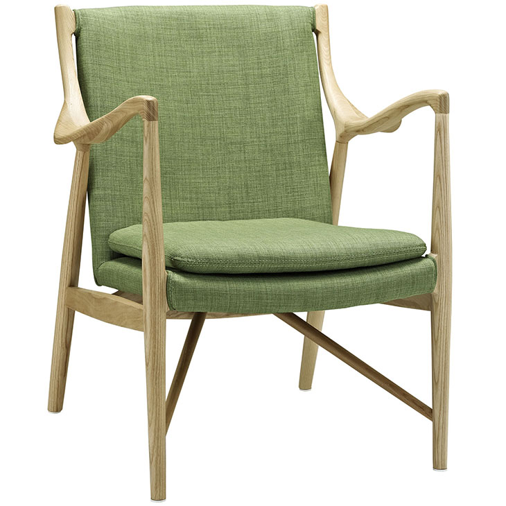 horn wood fabric chair green 1