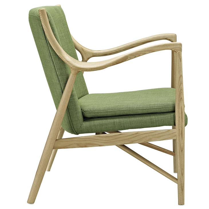 horn wood fabric chair green 2