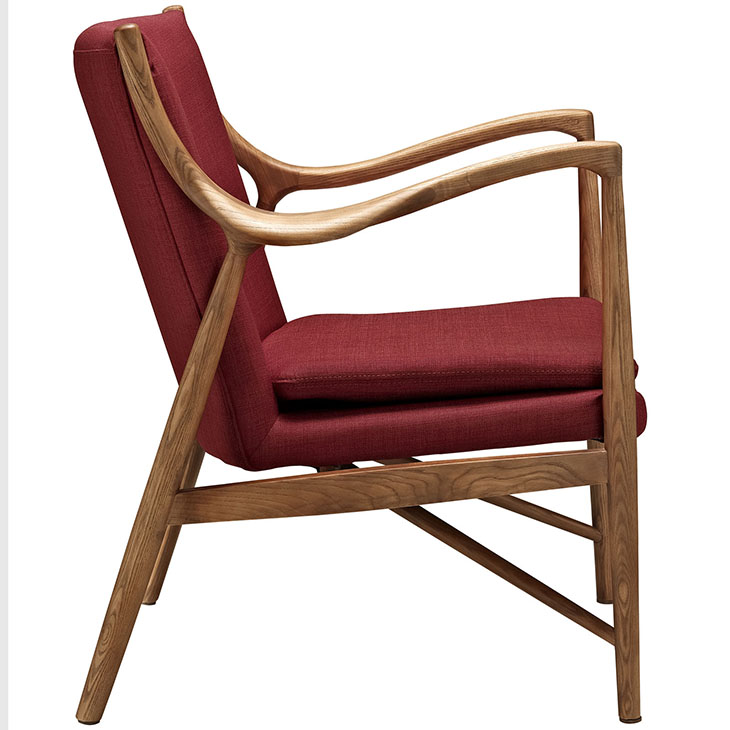 horn wood fabric chair red 2