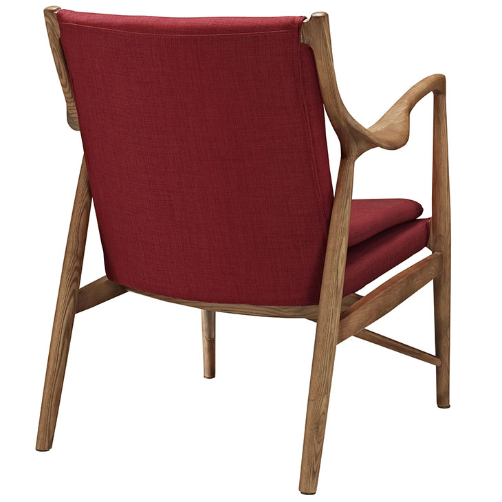 horn wood fabric chair red 3