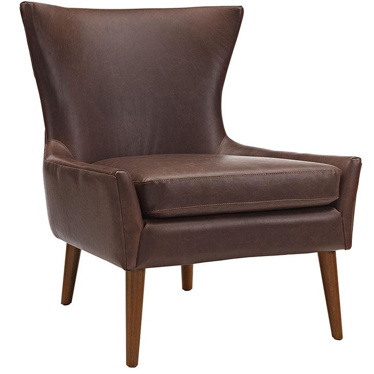 journal mid century modern accent chair brown 1