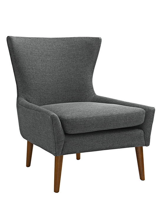 journal mid century modern fabric accent chair gray 1
