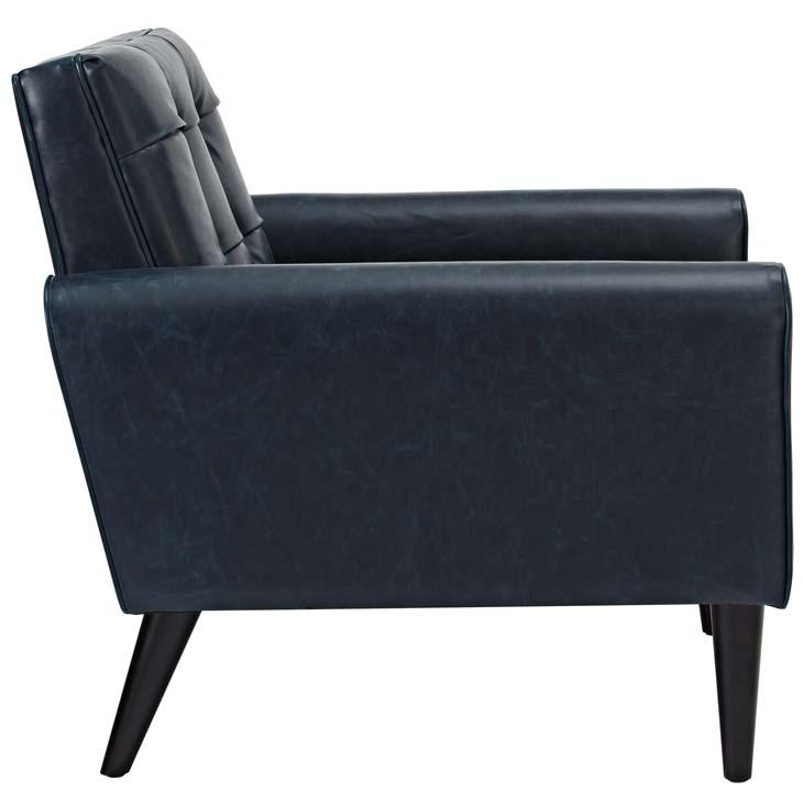 midnight leather armchair blue 2