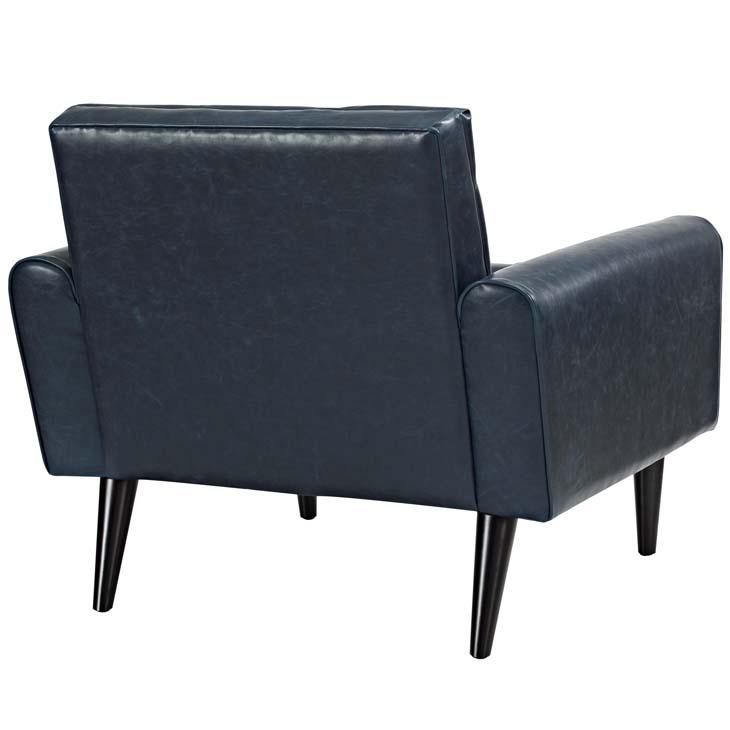 midnight leather armchair blue 3
