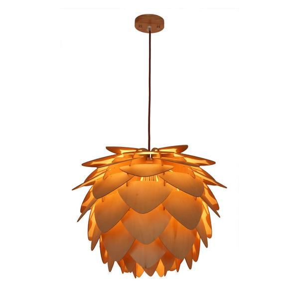 natural wood petals large pendant light 1