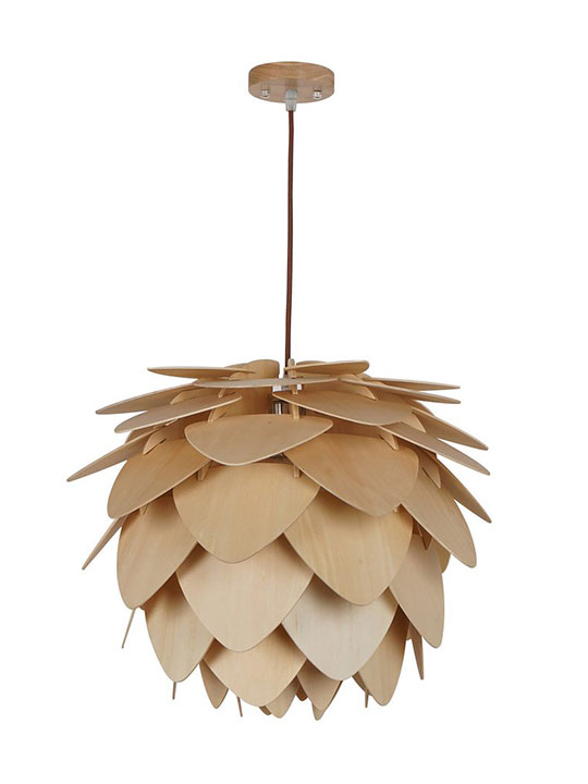 natural wood petals large pendant light