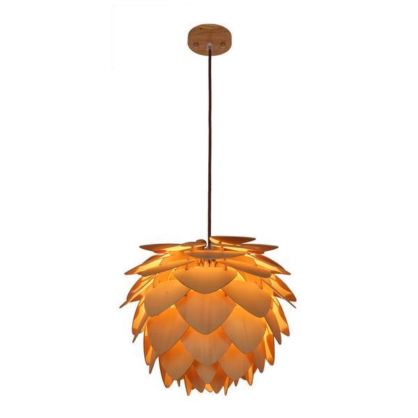 natural wood petals medium pendant light 1