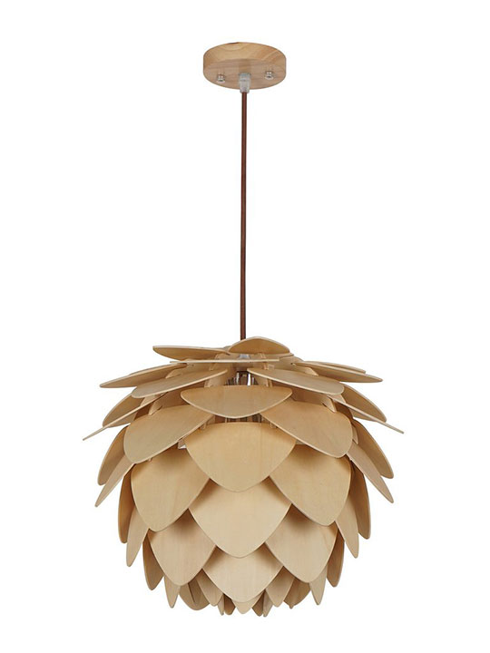 natural wood petals medium pendant light