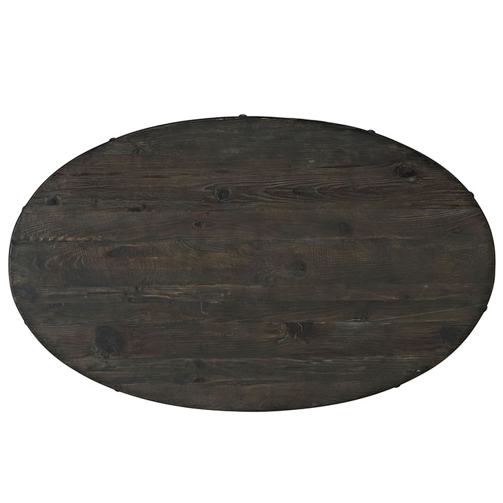 reclaimed wood oval coffee table dark brown wood 2