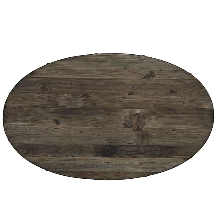 reclaimed wood oval coffee table natural wood 2