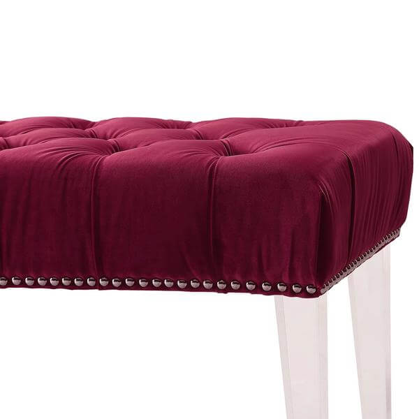 red tufted bench