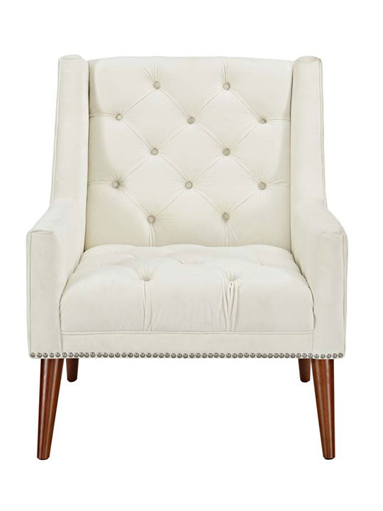 Tilly Velvet Armchair Cream