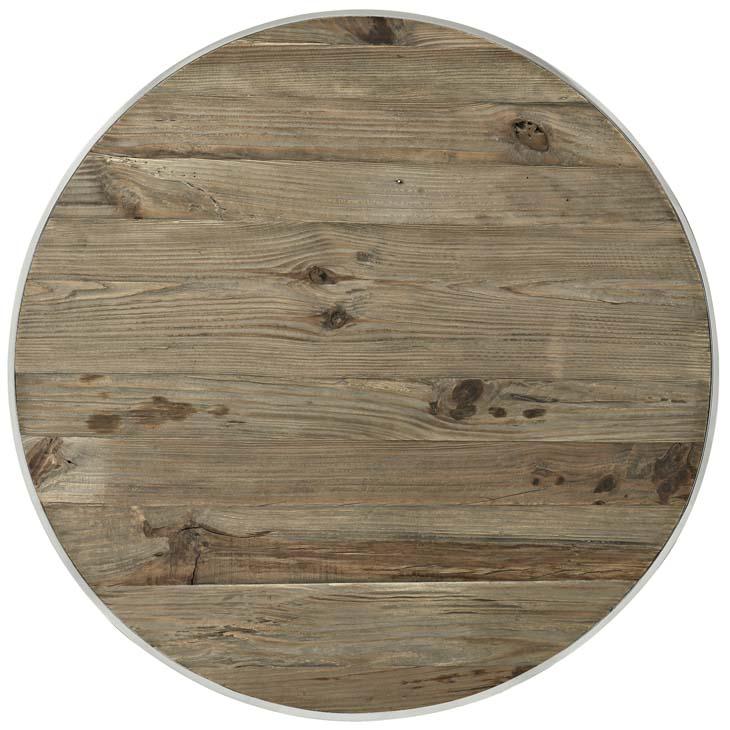 wood chrome circular coffee table 2