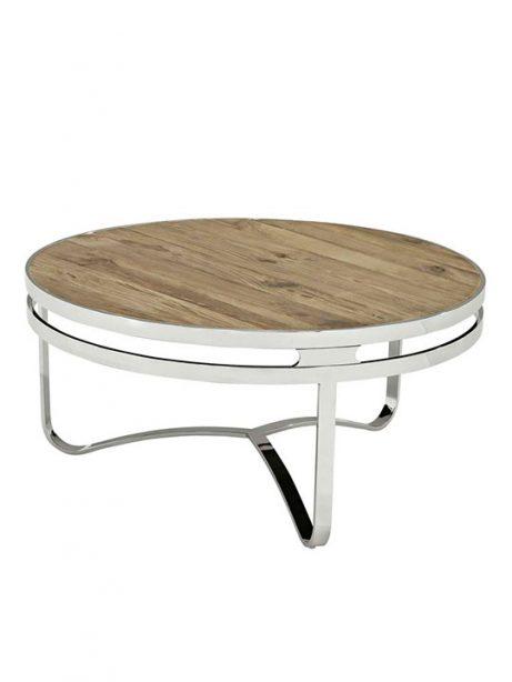 wood chrome circular coffee table 461x614