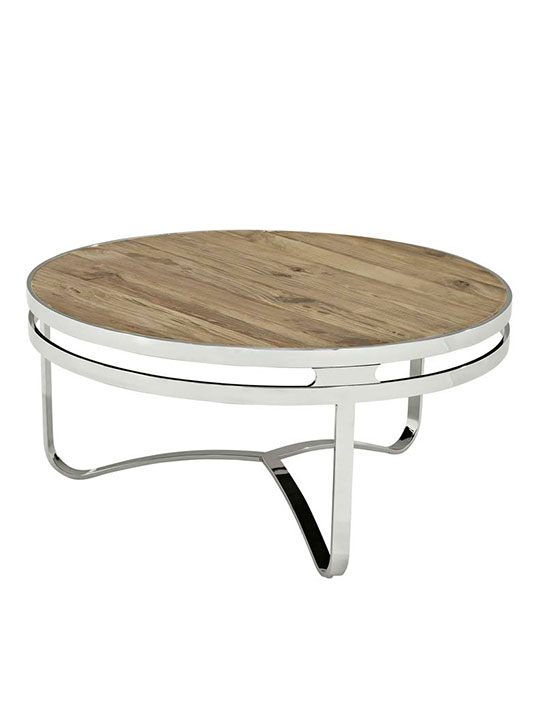 wood chrome circular coffee table