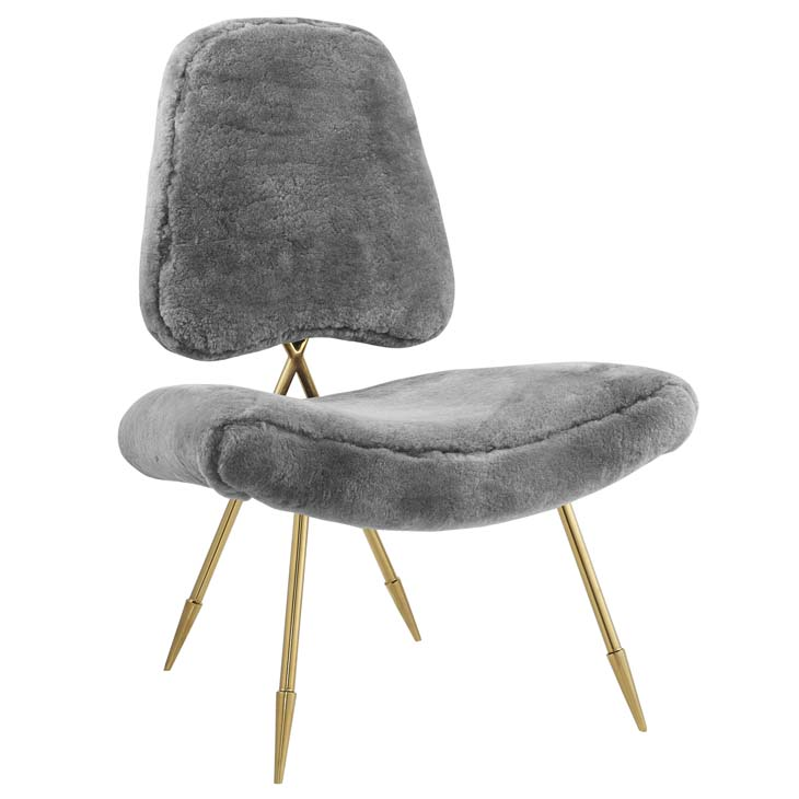 stratus gold sheepskin accent chair gray 1