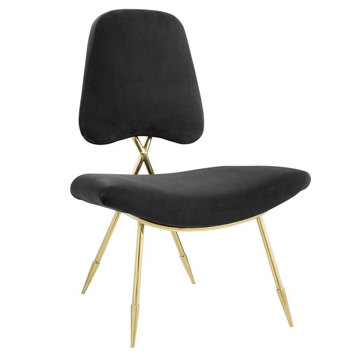 stratus gold velvet accent chair black 1