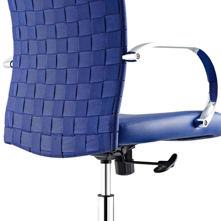 woven office chair blue 4