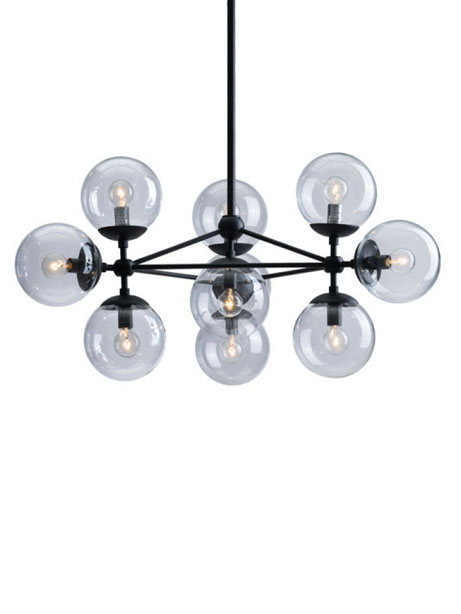 Sphere Mid Century Large Chandelier