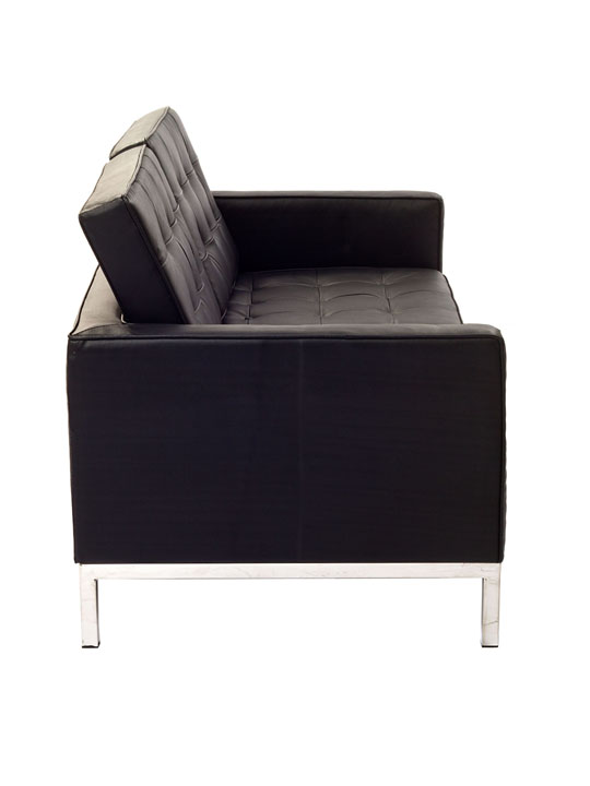 Bateman Black Leather Loveseat 3