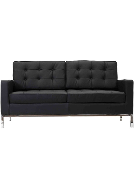 Bateman Black Leather Loveseat