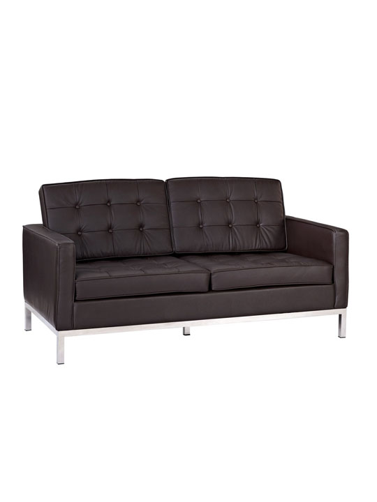 Bateman Brown Leather Loveseat 2