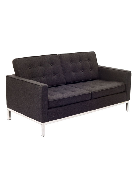 Bateman Dark Gray Wool Love Seat 3