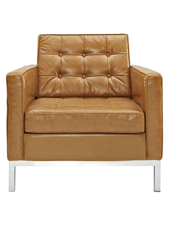Bateman Leather Sofa Chair Tan