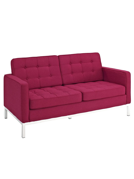 Bateman Red Wool Love Seat 2