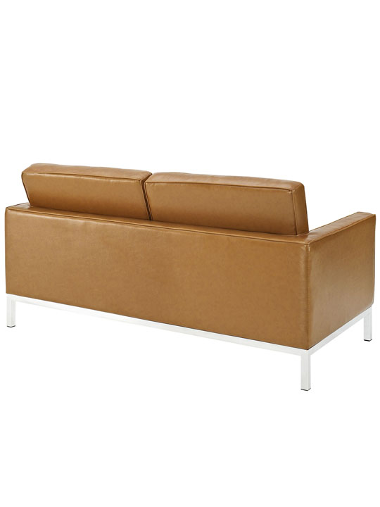 Bateman Tan Leather Loveseat 3