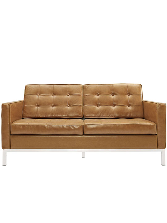 Bateman Tan Leather Loveseat