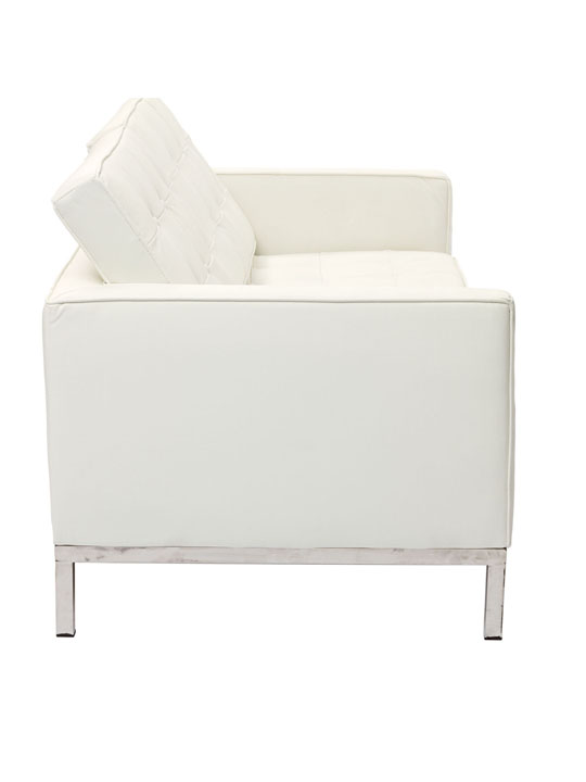Bateman White Leather Loveseat 3