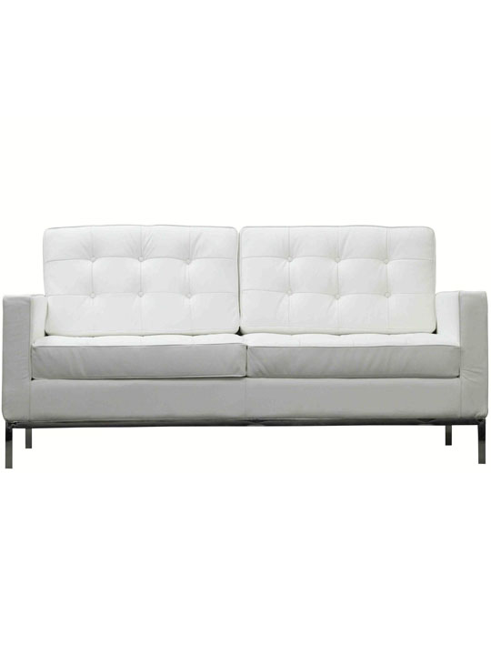 Bateman White Leather Loveseat
