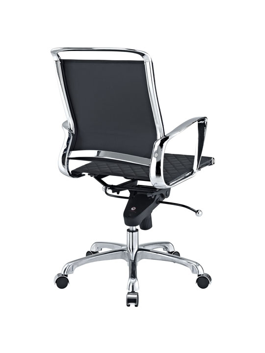 Black Leather Coco Low Back Office Chair 3