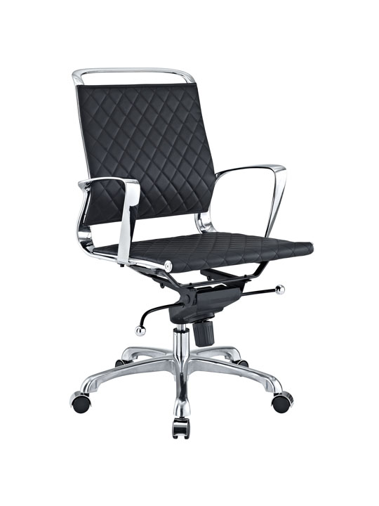 Black Leather Coco Low Back Office Chair