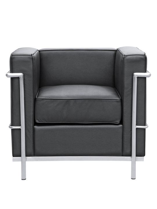 Black Simple Medium Leather Armchair