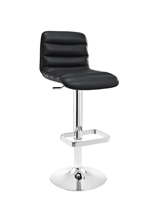 Cloud Black Leather Barstool