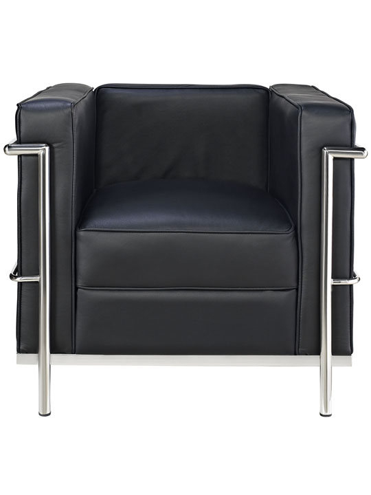 Simple Medium Leather Armchair Black 4