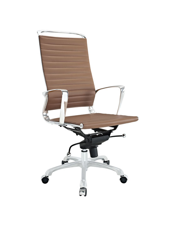 Tan Leather Instant Planner High Back Office Chair