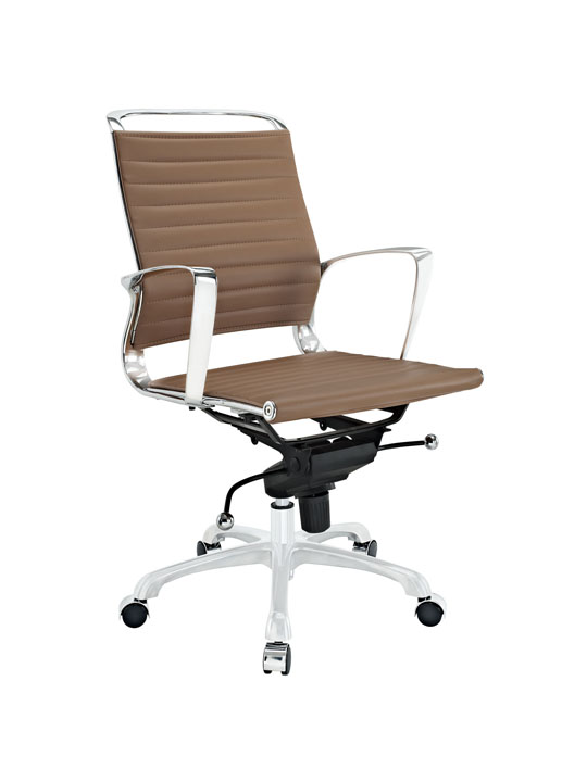 Tan Leather Instant Planner Low Back Office Chair