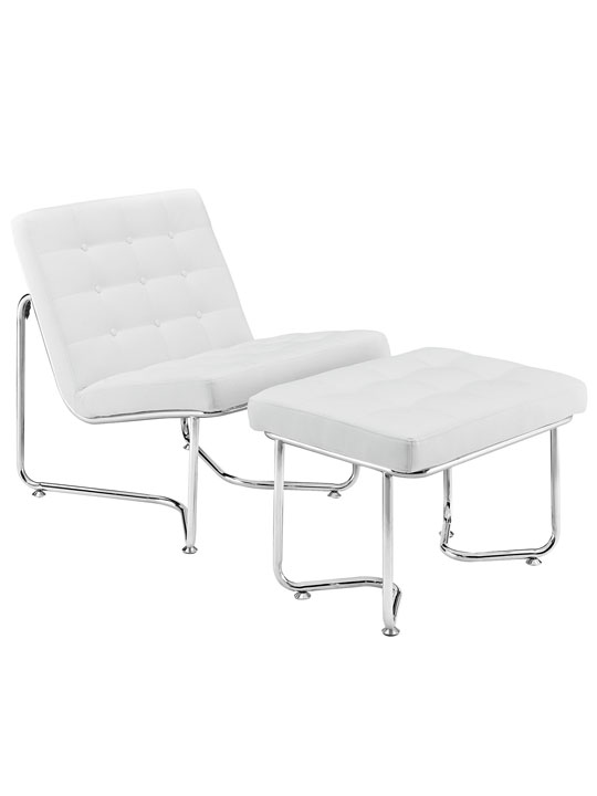 White Leather Arctic Lounge Set