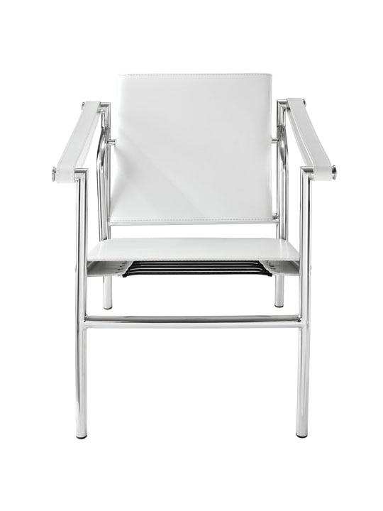 White Leather Attache Chair 2
