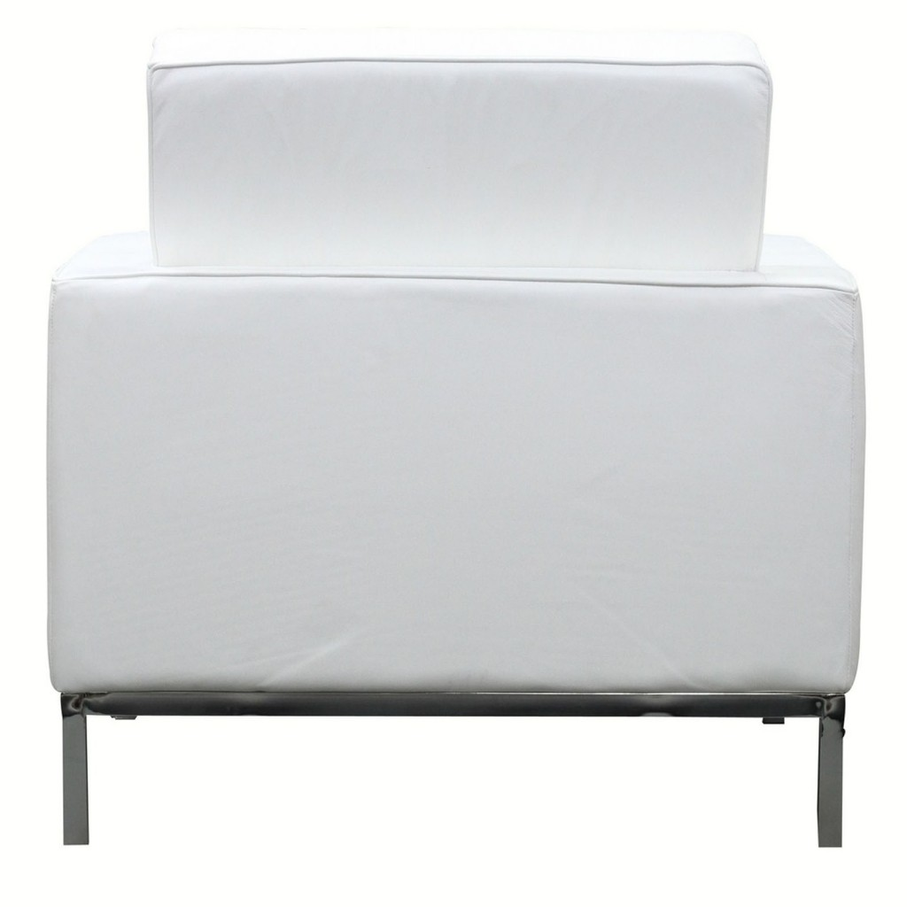 White Leather Bateman Sofa Armchair 2