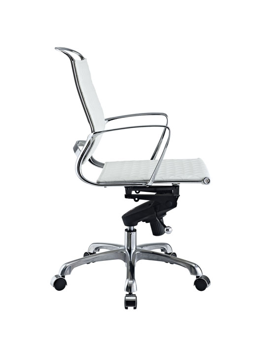 White Leather Coco Low Back Office Chair 2