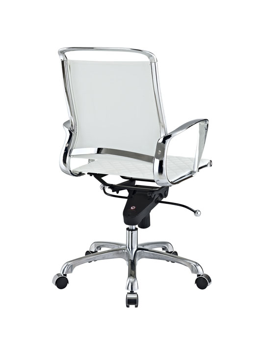 White Leather Coco Low Back Office Chair 3